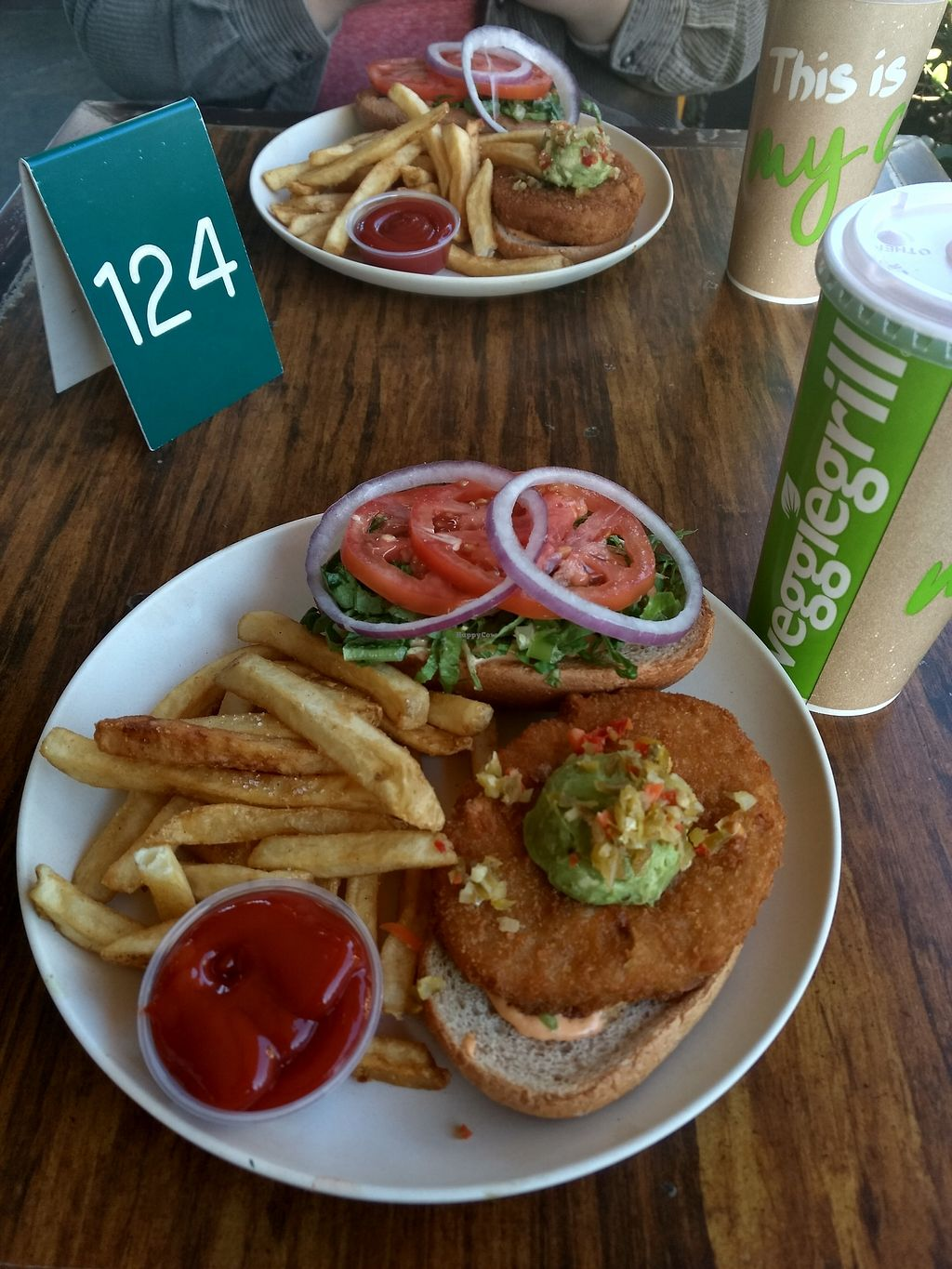 """Photo of Veggie Grill  by <a href=""""/members/profile/anastronomy"""">anastronomy</a> <br/>Burger with faux meat <br/> December 26, 2017  - <a href='/contact/abuse/image/33046/339120'>Report</a>"""