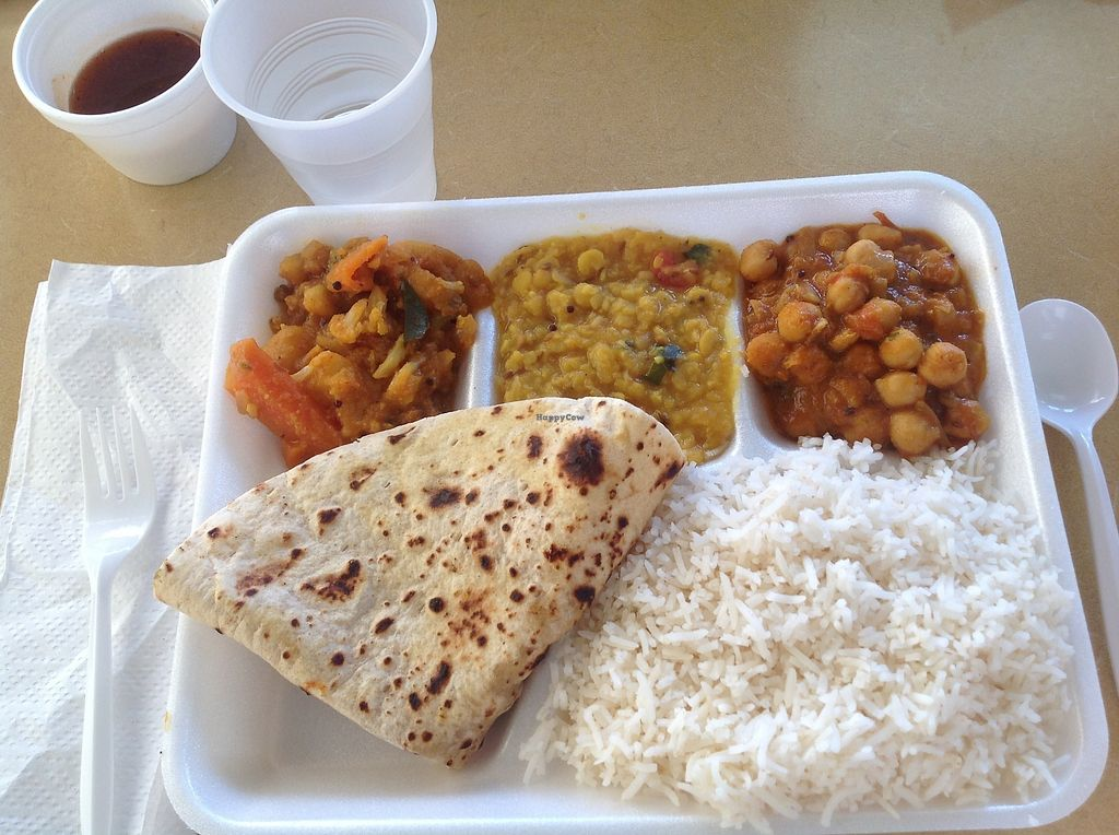 """Photo of Dosa Hut  by <a href=""""/members/profile/SendNooch"""">SendNooch</a> <br/>I got a thali special! It came with the rice and chapati (bread), I got to choose the three curries. I choose chickpeas, lentil, and mixed vegetables, it was delicious!  <br/> March 14, 2018  - <a href='/contact/abuse/image/3304/370399'>Report</a>"""