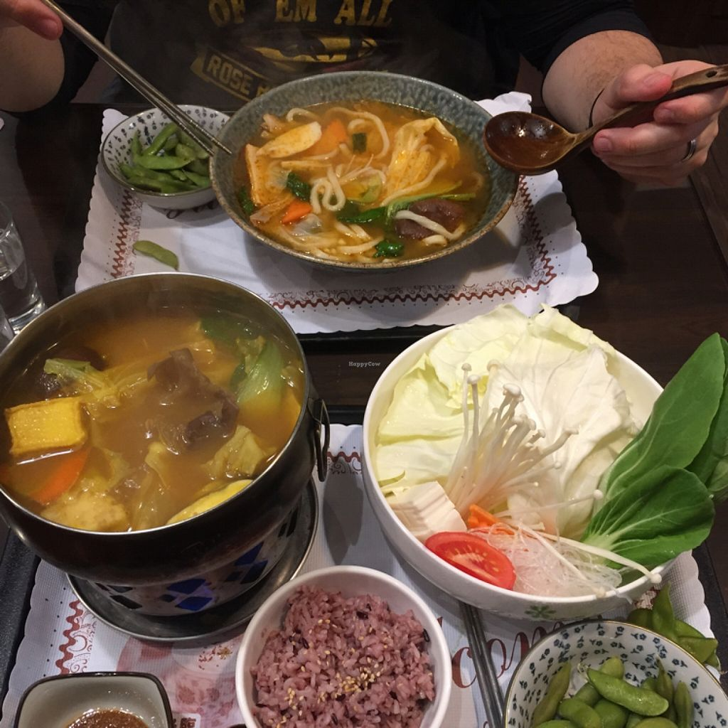 """Photo of DaHui Vegetarian Restaurant  by <a href=""""/members/profile/StephanieRoth"""">StephanieRoth</a> <br/>lemongrass and curry hot pot and Tom Yum noodle soup <br/> February 26, 2016  - <a href='/contact/abuse/image/33065/137915'>Report</a>"""