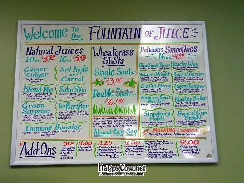 "Photo of Baums Natural Foods  by <a href=""/members/profile/happycowgirl"">happycowgirl</a> <br/>Juice Bar menu <br/> July 5, 2012  - <a href='/contact/abuse/image/33081/34179'>Report</a>"