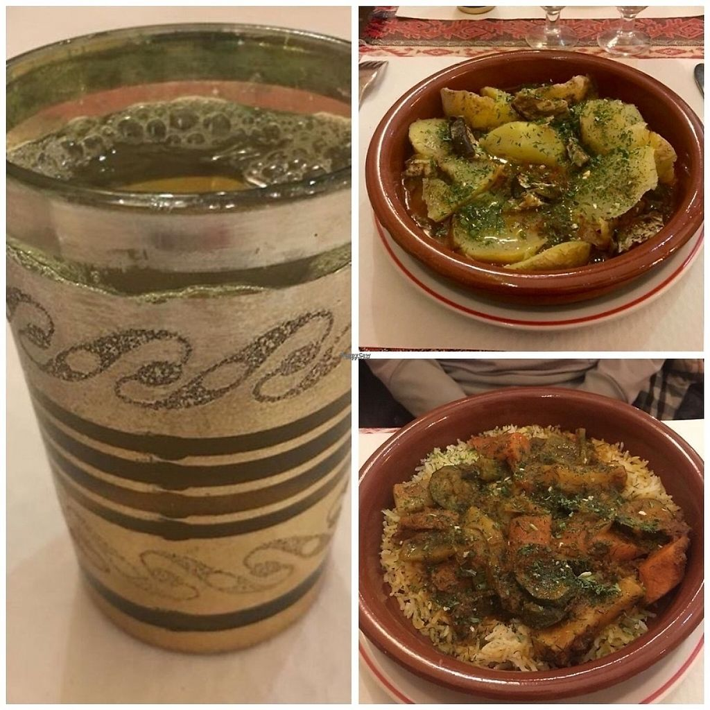 """Photo of Alounak Nice  by <a href=""""/members/profile/KammyM"""">KammyM</a> <br/>Mint tea, baked potato ratatouille and vegetable tagine. Generous portions, great friendly service. Vegan dessert options. Only vegan friendly place we found ooen off season, will go back!  <br/> January 27, 2017  - <a href='/contact/abuse/image/33084/217962'>Report</a>"""