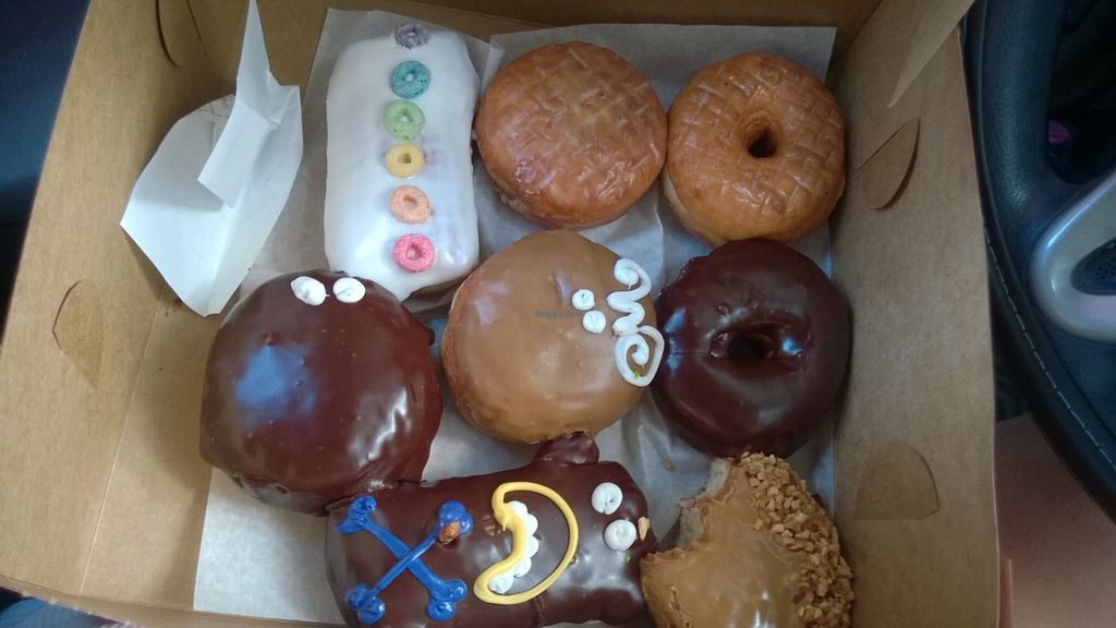 """Photo of Voodoo Doughnut  by <a href=""""/members/profile/meredith"""">meredith</a> <br/>'all of the filled vegan donuts'  Plus a glazed and a chocolate one <br/> September 27, 2015  - <a href='/contact/abuse/image/33103/119346'>Report</a>"""