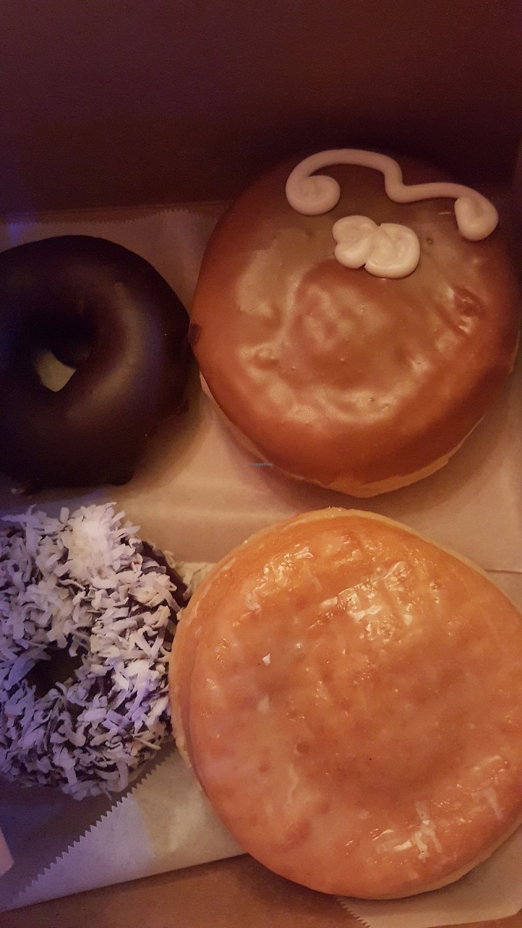 """Photo of Voodoo Doughnut Too  by <a href=""""/members/profile/Peacelovevegan4life"""">Peacelovevegan4life</a> <br/>All Vegan!  The top right is the maple donut with maple """"creme"""" filling, bottom right is filled with raspberry sauce. All were amazing <br/> May 31, 2017  - <a href='/contact/abuse/image/33115/264625'>Report</a>"""