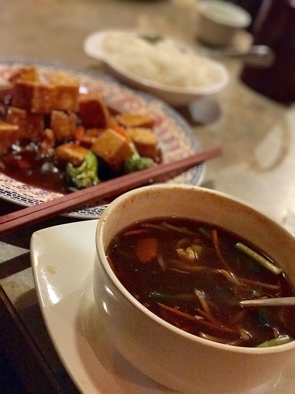 """Photo of Lai Thai Kitchen  by <a href=""""/members/profile/PlantPoweredRN"""">PlantPoweredRN</a> <br/>Vegan-Hot and Sour Soup.  Background is General Tso Tofu <br/> January 3, 2018  - <a href='/contact/abuse/image/33164/342608'>Report</a>"""