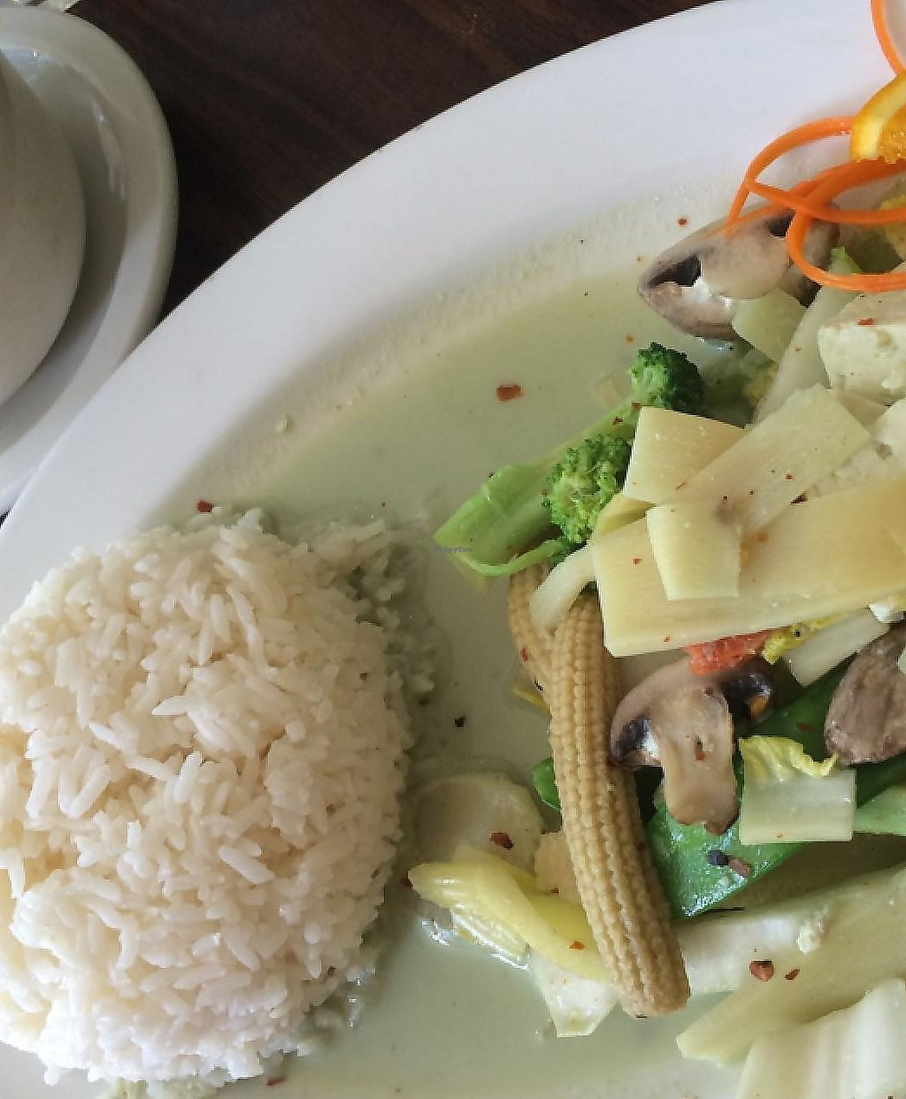 """Photo of Angel's Thai Cafe  by <a href=""""/members/profile/Tender%20Barbarian"""">Tender Barbarian</a> <br/>Green curry steam tofu  <br/> July 26, 2015  - <a href='/contact/abuse/image/33195/204326'>Report</a>"""