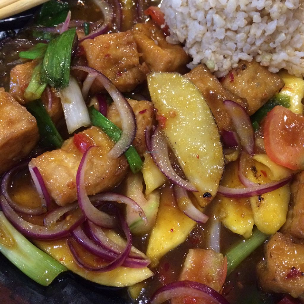 "Photo of CLOSED: XO Asian Cuisine  by <a href=""/members/profile/Tender%20Barbarian"">Tender Barbarian</a> <br/>Tofu mango sauce <br/> August 18, 2015  - <a href='/contact/abuse/image/33215/114104'>Report</a>"