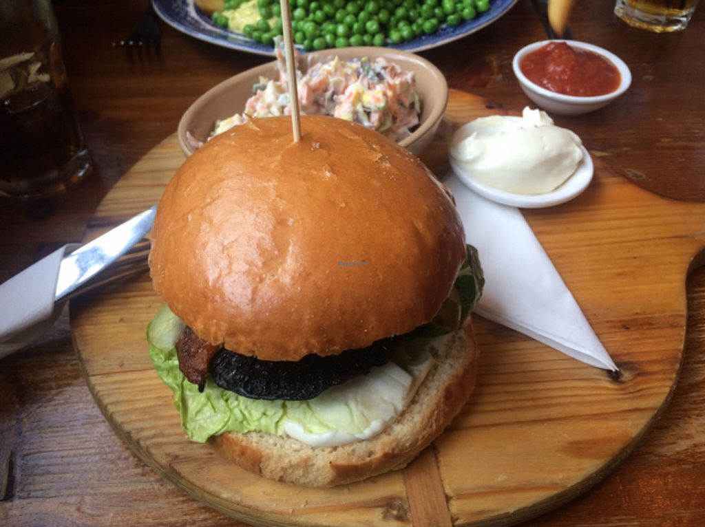 """Photo of Norman's Coach and Horses  by <a href=""""/members/profile/Claremveg"""">Claremveg</a> <br/>portobello mushroom burger with coleslaw  <br/> February 21, 2016  - <a href='/contact/abuse/image/33232/137217'>Report</a>"""
