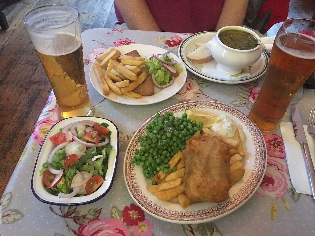 """Photo of Norman's Coach and Horses  by <a href=""""/members/profile/VictoriaMcSwain"""">VictoriaMcSwain</a> <br/>Vegan fish and chips were great!!! <br/> October 2, 2017  - <a href='/contact/abuse/image/33232/311133'>Report</a>"""