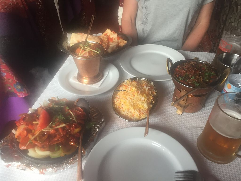 """Photo of Masala  by <a href=""""/members/profile/newvegana"""">newvegana</a> <br/>Sizzling vegetable jalfrezi on the left! <br/> August 3, 2017  - <a href='/contact/abuse/image/33251/288397'>Report</a>"""