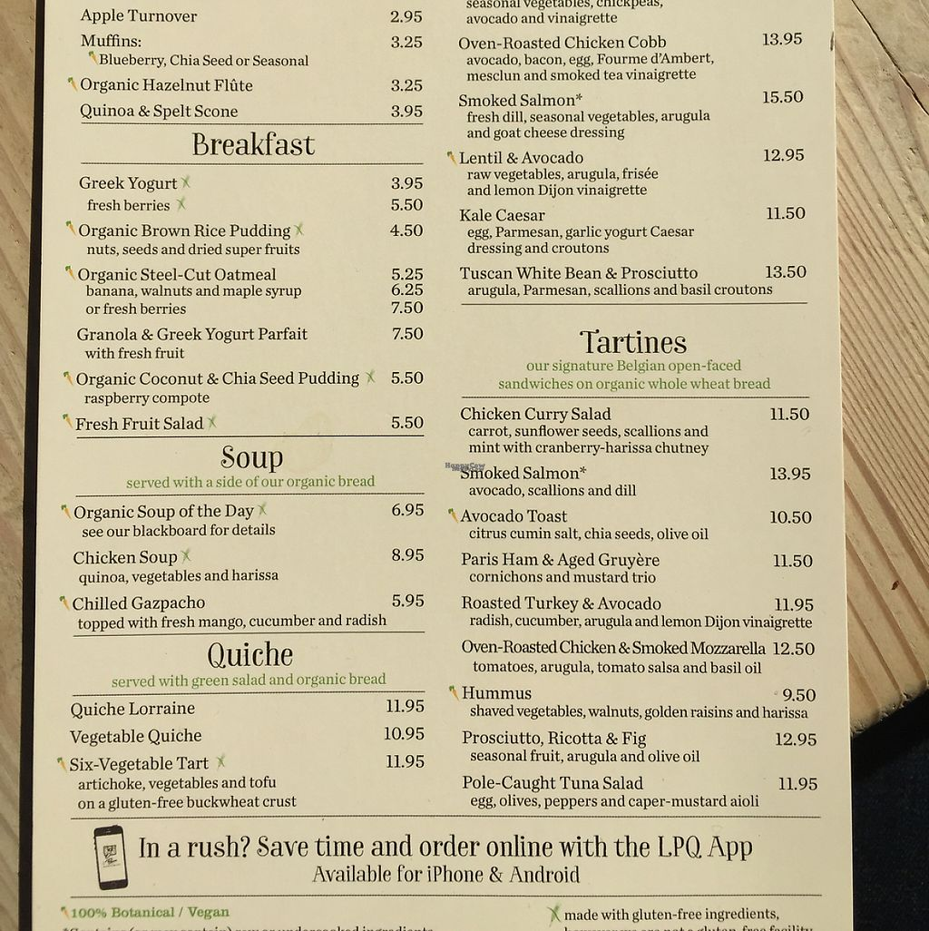 """Photo of Le Pain Quotidien - P St  by <a href=""""/members/profile/lilypadhai"""">lilypadhai</a> <br/>vegan options marked with a carrot <br/> November 27, 2016  - <a href='/contact/abuse/image/33320/195132'>Report</a>"""
