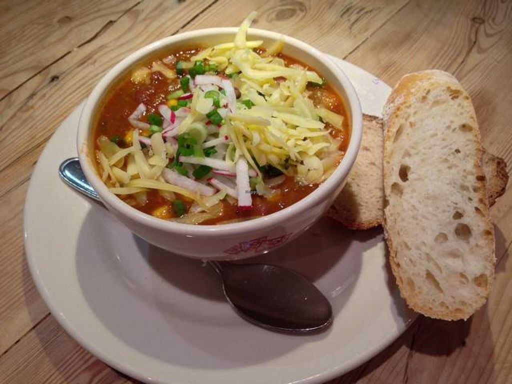 """Photo of Le Pain Quotidien- 17th St  by <a href=""""/members/profile/happycowgirl"""">happycowgirl</a> <br/>organic 3-bean chili (vegan) <br/> October 23, 2014  - <a href='/contact/abuse/image/33324/83750'>Report</a>"""