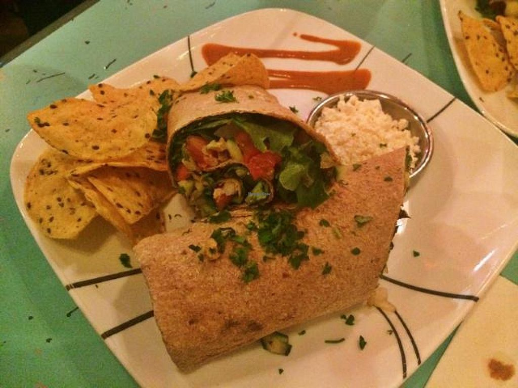 """Photo of Green Erth Bistro  by <a href=""""/members/profile/NaturallyLala"""">NaturallyLala</a> <br/>Vegetarian Wrap (Feta cheese on the side) <br/> September 5, 2014  - <a href='/contact/abuse/image/33360/79143'>Report</a>"""