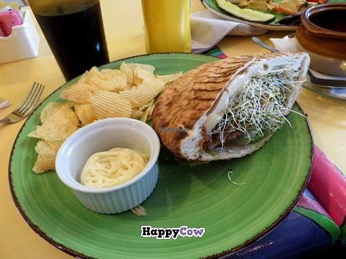 """Photo of Malia's Cafe  by <a href=""""/members/profile/benonijump"""">benonijump</a> <br/>Veggie burger w/ avocado and sprouts <br/> September 23, 2013  - <a href='/contact/abuse/image/33374/55552'>Report</a>"""