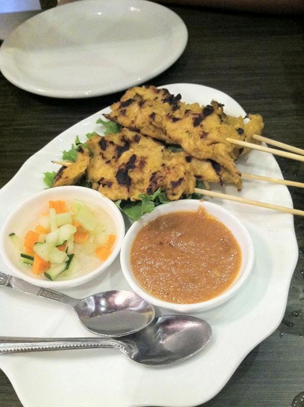"""Photo of Plumeria  by <a href=""""/members/profile/Meggie%20and%20Ben"""">Meggie and Ben</a> <br/>Chick'n satay with peanut sauce <br/> December 1, 2014  - <a href='/contact/abuse/image/33396/86972'>Report</a>"""