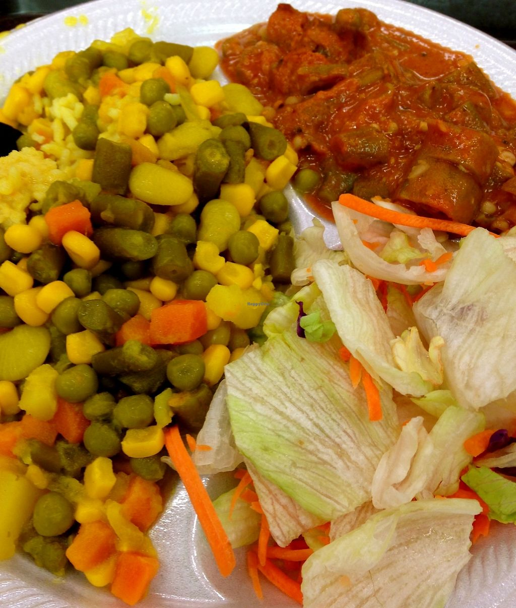 """Photo of India Cafe Curry Express NEX - Kiosk  by <a href=""""/members/profile/myra975"""">myra975</a> <br/>Okra Curry with Side Salad, Rice and Vegetable Sambar  <br/> September 10, 2015  - <a href='/contact/abuse/image/33477/199364'>Report</a>"""
