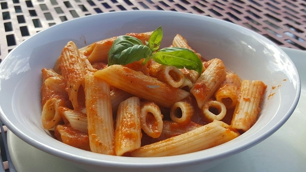 "Photo of Tiamo's  by <a href=""/members/profile/Clare"">Clare</a> <br/>vegan pasta and tomato sauce <br/> September 17, 2016  - <a href='/contact/abuse/image/33538/176279'>Report</a>"