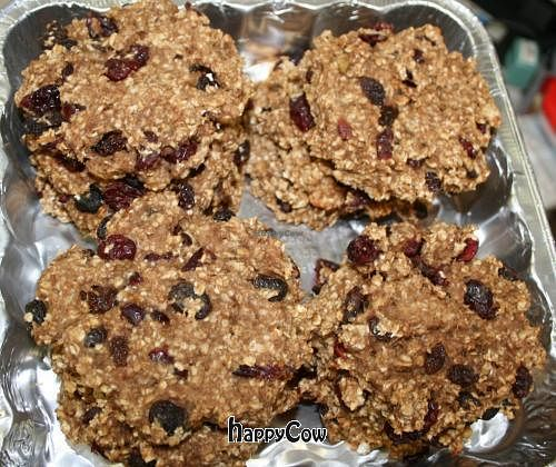 """Photo of The Pony Expresso  by <a href=""""/members/profile/PonyExpresso"""">PonyExpresso</a> <br/>Vegan Breakfast Cookies - just Gluten-free oats, bananas, applesauce, vanilla, cinnamon, almond milk and cherry-flavored cranberries <br/> April 4, 2013  - <a href='/contact/abuse/image/33539/46504'>Report</a>"""
