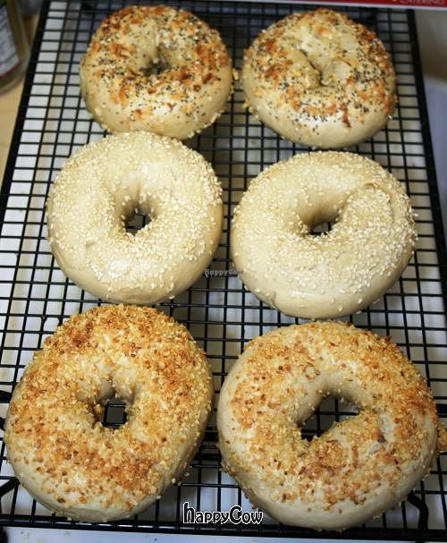 """Photo of The Pony Expresso  by <a href=""""/members/profile/PonyExpresso"""">PonyExpresso</a> <br/>Vegan bagels! No egg wash used!  Sesame, Garlic or Everything bagels - these are delicious! Vegan margarine available to go with them <br/> April 4, 2013  - <a href='/contact/abuse/image/33539/46506'>Report</a>"""