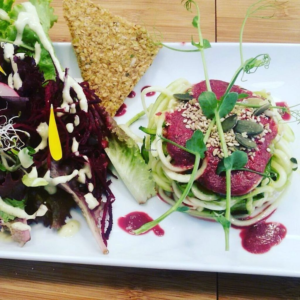 """Photo of Bionectar  by <a href=""""/members/profile/bionectar"""">bionectar</a> <br/>Zucchini Noodles with root beet souce <br/> May 27, 2017  - <a href='/contact/abuse/image/33551/263146'>Report</a>"""