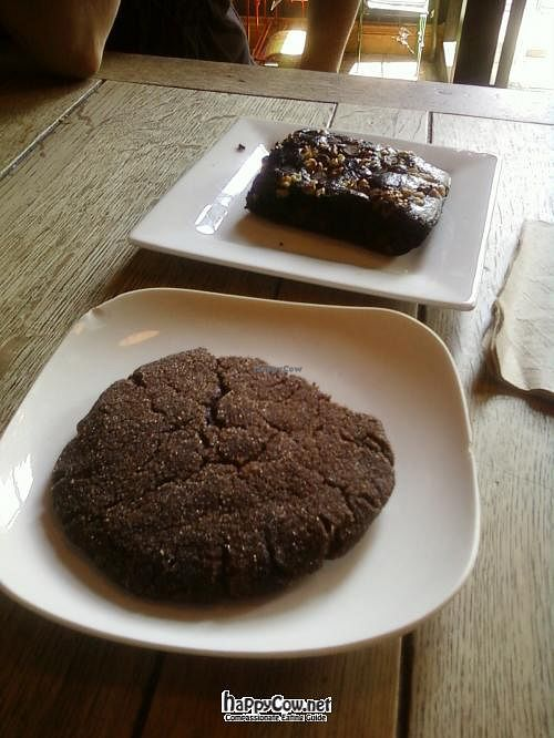 """Photo of Bean Scene Coffee Works  by <a href=""""/members/profile/DollyWiggles"""">DollyWiggles</a> <br/>vegan browni and cookie <br/> July 28, 2012  - <a href='/contact/abuse/image/33564/35209'>Report</a>"""
