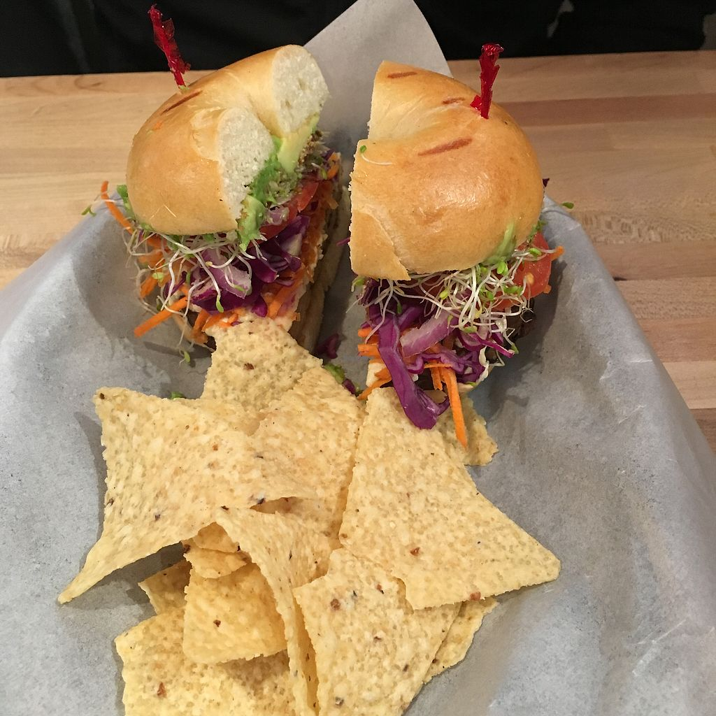 """Photo of Sprouts Natural Foods Cafe  by <a href=""""/members/profile/Charmingdaisy"""">Charmingdaisy</a> <br/>Tempeh burger with vegan cheese..yummy.. but slightly small  <br/> September 24, 2017  - <a href='/contact/abuse/image/3356/307647'>Report</a>"""