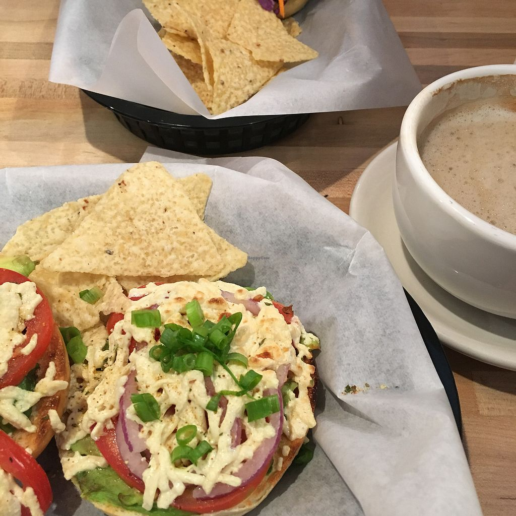 """Photo of Sprouts Natural Foods Cafe  by <a href=""""/members/profile/Charmingdaisy"""">Charmingdaisy</a> <br/>Bagel with avocado tomato onion and melted vegan cheese <br/> September 24, 2017  - <a href='/contact/abuse/image/3356/307648'>Report</a>"""