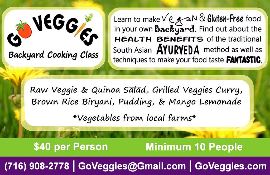 "Photo of Go Veggies Cafe  by <a href=""/members/profile/Lauren%20W."">Lauren W.</a> <br/>Go Veggies Backyard Cooking Class <br/> June 10, 2014  - <a href='/contact/abuse/image/33578/71754'>Report</a>"