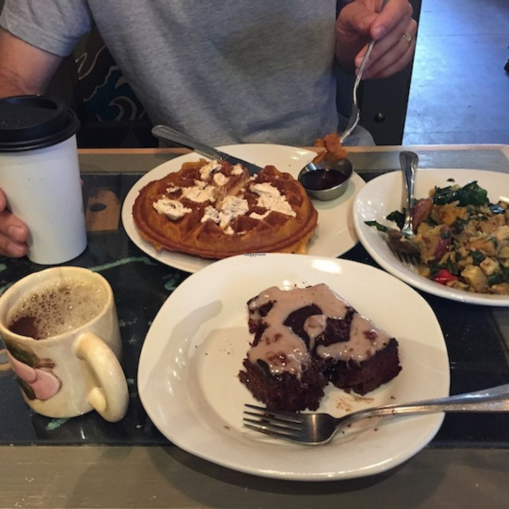 """Photo of Boots Bakery and Lounge  by <a href=""""/members/profile/Shel%20Graves"""">Shel Graves</a> <br/>Strawberry chocolate coffee cake, pumpkin waffle and a spicy tofu scramble —yum! <br/> August 25, 2015  - <a href='/contact/abuse/image/33634/115204'>Report</a>"""