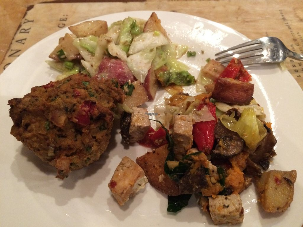 """Photo of Boots Bakery and Lounge  by <a href=""""/members/profile/veganhippiefreek"""">veganhippiefreek</a> <br/>german potato salad, tofu scramble, & sausage frittata  <br/> October 27, 2016  - <a href='/contact/abuse/image/33634/184618'>Report</a>"""