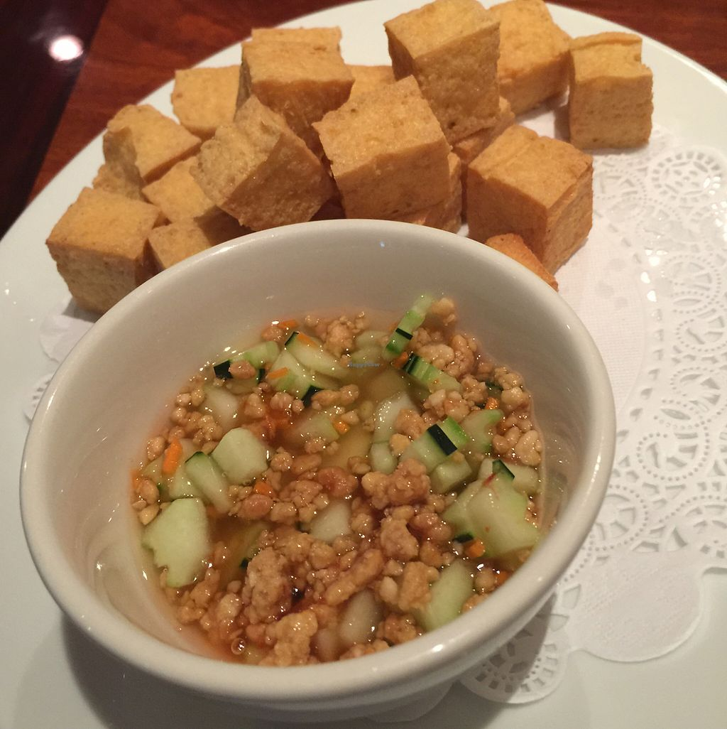 """Photo of Thai Rice and Spice  by <a href=""""/members/profile/OC949"""">OC949</a> <br/>Fried tofu with peanut cucumber sauce  <br/> May 15, 2017  - <a href='/contact/abuse/image/33641/258868'>Report</a>"""