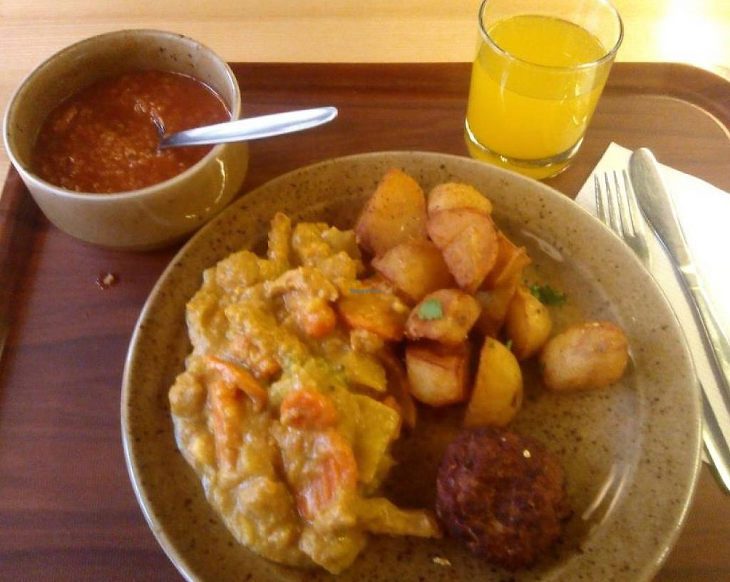 "Photo of Rebio - Velky Spalicek  by <a href=""/members/profile/lebtnureintraum"">lebtnureintraum</a> <br/>Vegan menu with soup and fresh juice, total cost CZK 188 <br/> January 28, 2015  - <a href='/contact/abuse/image/33754/236204'>Report</a>"
