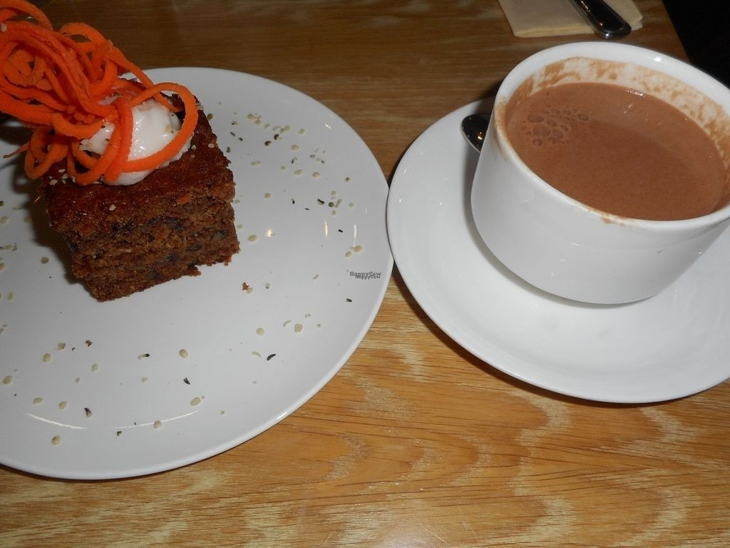 """Photo of Fresh - Bolshaya Dmitrovka  by <a href=""""/members/profile/J%20and%20J"""">J and J</a> <br/>vegan carrot cake and drinking chocolate <br/> August 28, 2016  - <a href='/contact/abuse/image/33756/172021'>Report</a>"""