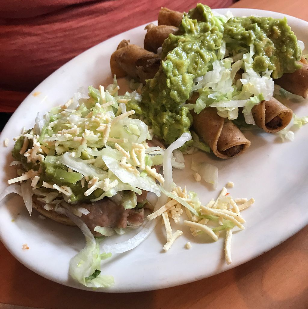 """Photo of Ranchos Cocina - North Park  by <a href=""""/members/profile/xmrfigx"""">xmrfigx</a> <br/>Rolled potato tacos and bean sope <br/> May 29, 2017  - <a href='/contact/abuse/image/3375/263934'>Report</a>"""