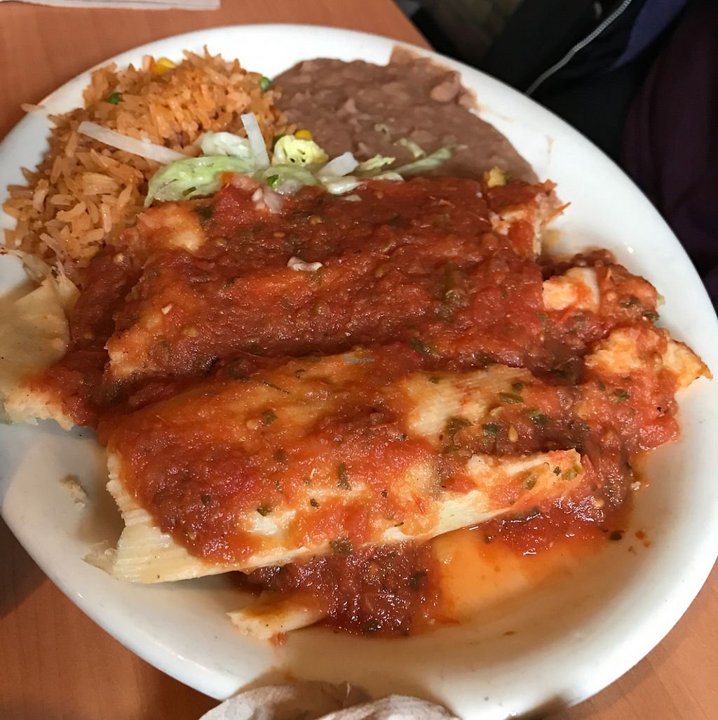 """Photo of Ranchos Cocina - North Park  by <a href=""""/members/profile/xmrfigx"""">xmrfigx</a> <br/>Veggie tamales <br/> May 29, 2017  - <a href='/contact/abuse/image/3375/263937'>Report</a>"""