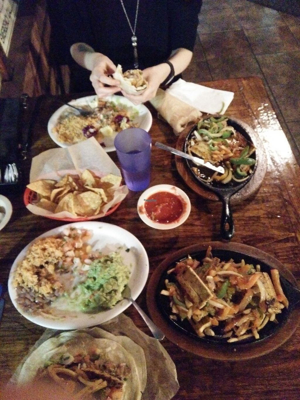 "Photo of Pokez  by <a href=""/members/profile/oleiah"">oleiah</a> <br/>Two orders of vegan fajitas for two people = way too much food! <br/> March 13, 2017  - <a href='/contact/abuse/image/3376/235956'>Report</a>"