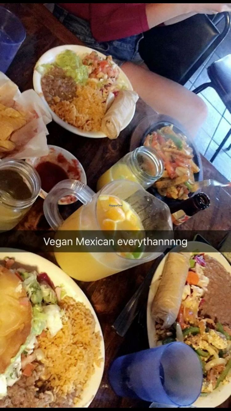 "Photo of Pokez  by <a href=""/members/profile/mtind29"">mtind29</a> <br/>vegan (tofu) fajitas, tofu scramble, fried veggie taco & pitcher of mimosa <br/> September 19, 2017  - <a href='/contact/abuse/image/3376/305979'>Report</a>"