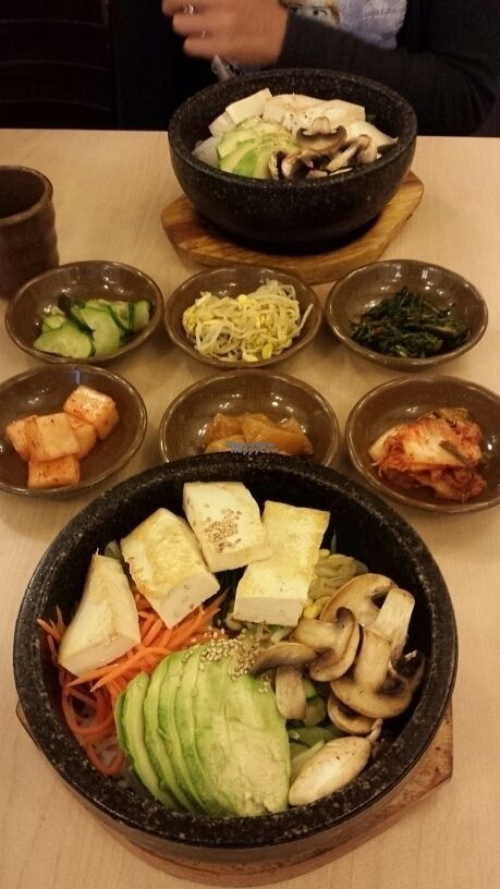 "Photo of Imonay Korean Restaurant  by <a href=""/members/profile/vegisaurus"">vegisaurus</a> <br/>Veg appetizers & loaded eggless veg dol sot bibimbap <br/> September 18, 2016  - <a href='/contact/abuse/image/33782/176537'>Report</a>"
