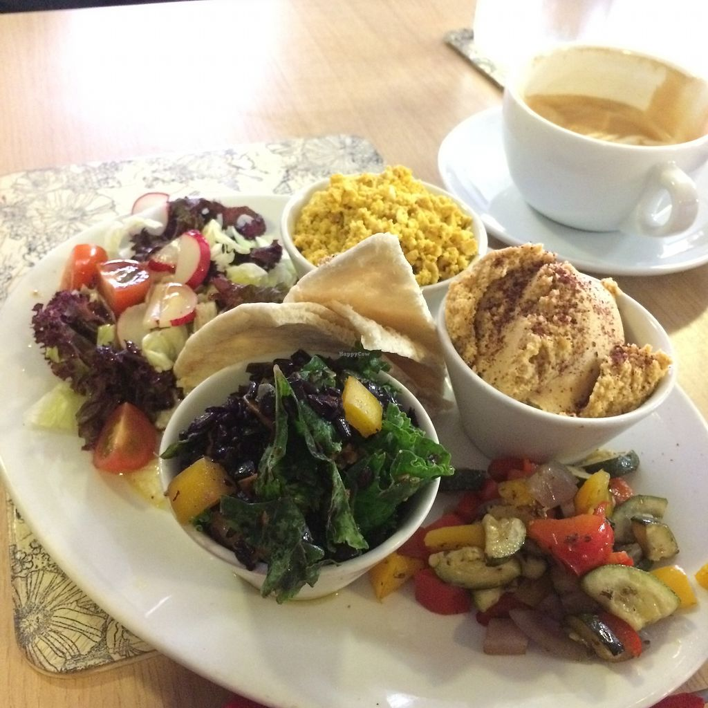 """Photo of Global Tribe Cafe  by <a href=""""/members/profile/Hoggy"""">Hoggy</a> <br/>'Mezze' - Hummus and Pita. Roast Vegetables. Superfood Salad Scrambled Tofu (not on Mezze menu, requested) <br/> July 23, 2017  - <a href='/contact/abuse/image/33793/283764'>Report</a>"""