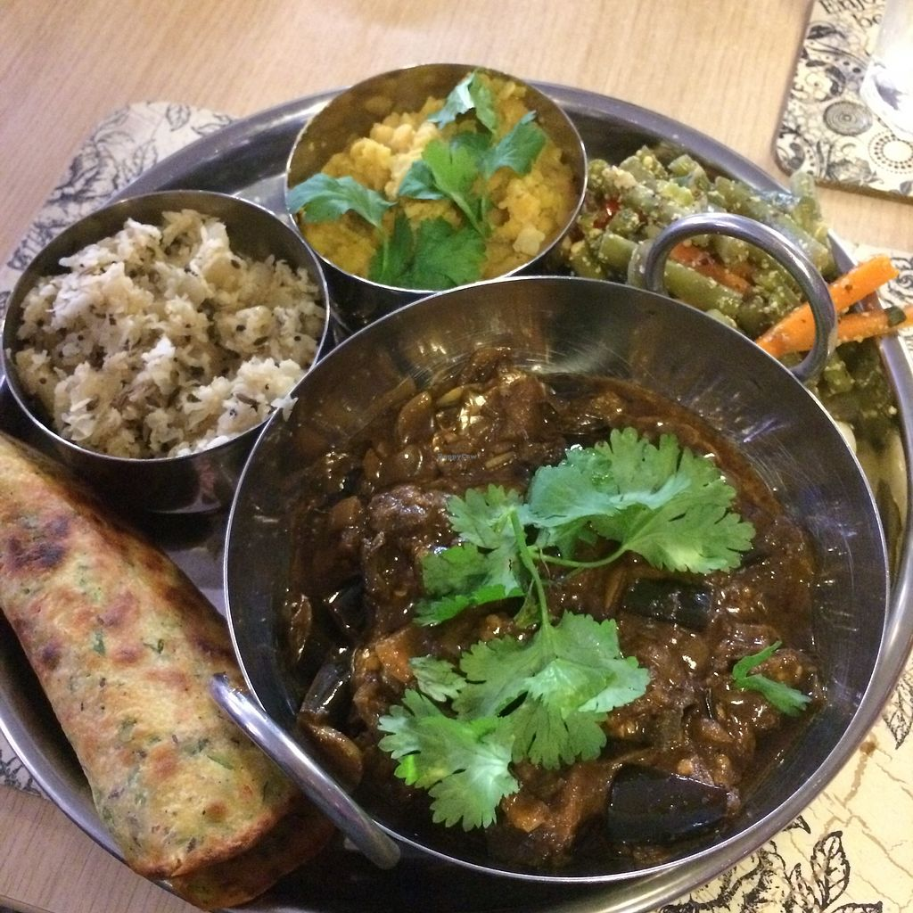 """Photo of Global Tribe Cafe  by <a href=""""/members/profile/Hoggy"""">Hoggy</a> <br/>'South Indian Thali' <br/> July 23, 2017  - <a href='/contact/abuse/image/33793/283766'>Report</a>"""