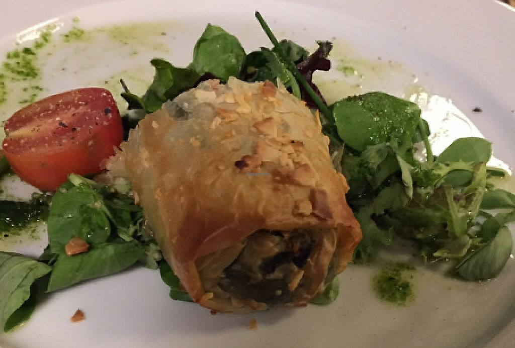 """Photo of Essencia  by <a href=""""/members/profile/dlachica"""">dlachica</a> <br/>Spinach 'sausage' in filo dough with pesto <br/> September 6, 2015  - <a href='/contact/abuse/image/33794/241503'>Report</a>"""