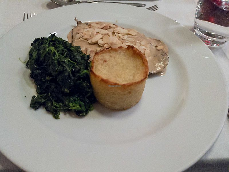 """Photo of Essencia  by <a href=""""/members/profile/obn"""">obn</a> <br/>Main dish: saitan steak with almond topping, spinach and potato <br/> May 20, 2018  - <a href='/contact/abuse/image/33794/402507'>Report</a>"""