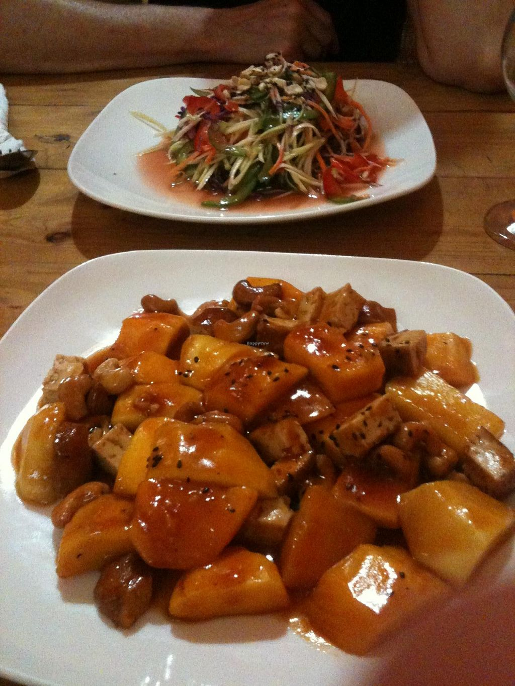 """Photo of Cafe Soleil  by <a href=""""/members/profile/heloisepe"""">heloisepe</a> <br/>Cashew, mango, tofu in my plate ; salad in my friend's plate. 3-4$ dollars for each <br/> July 27, 2015  - <a href='/contact/abuse/image/33811/111145'>Report</a>"""
