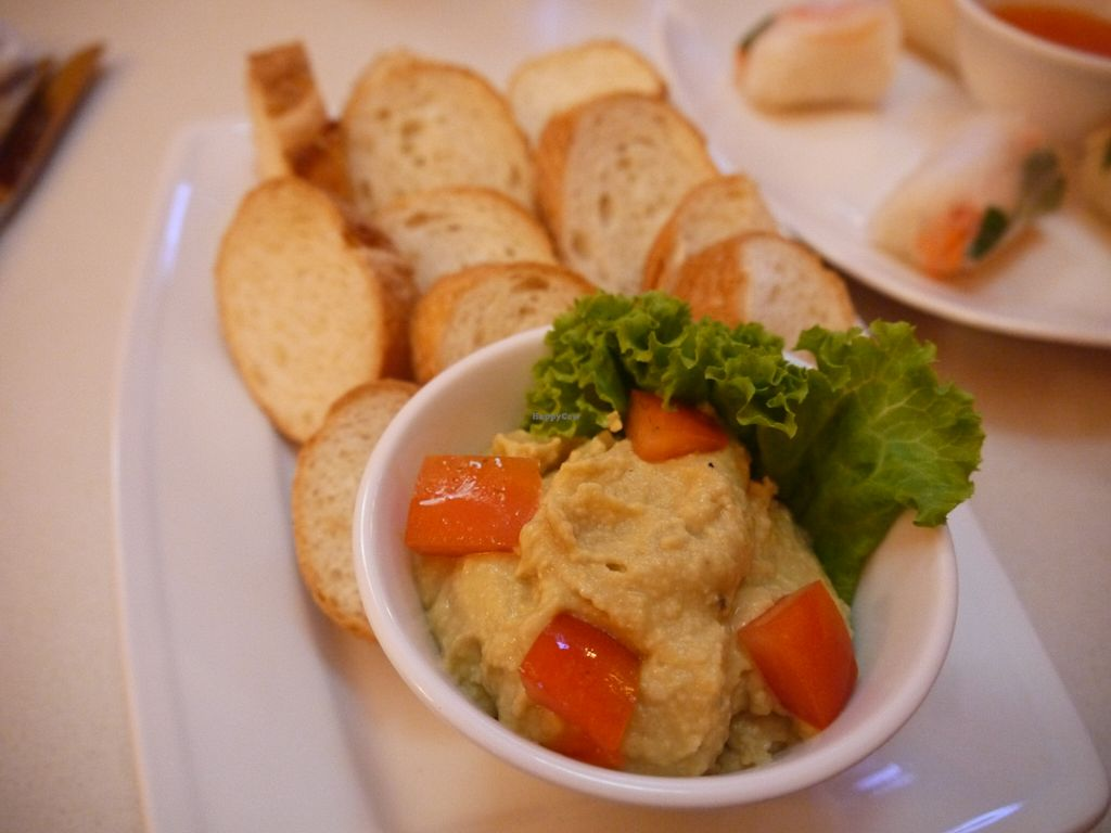 """Photo of Cafe Soleil  by <a href=""""/members/profile/phnompenhveggie"""">phnompenhveggie</a> <br/>Hummus and bread <br/> February 5, 2016  - <a href='/contact/abuse/image/33811/135066'>Report</a>"""