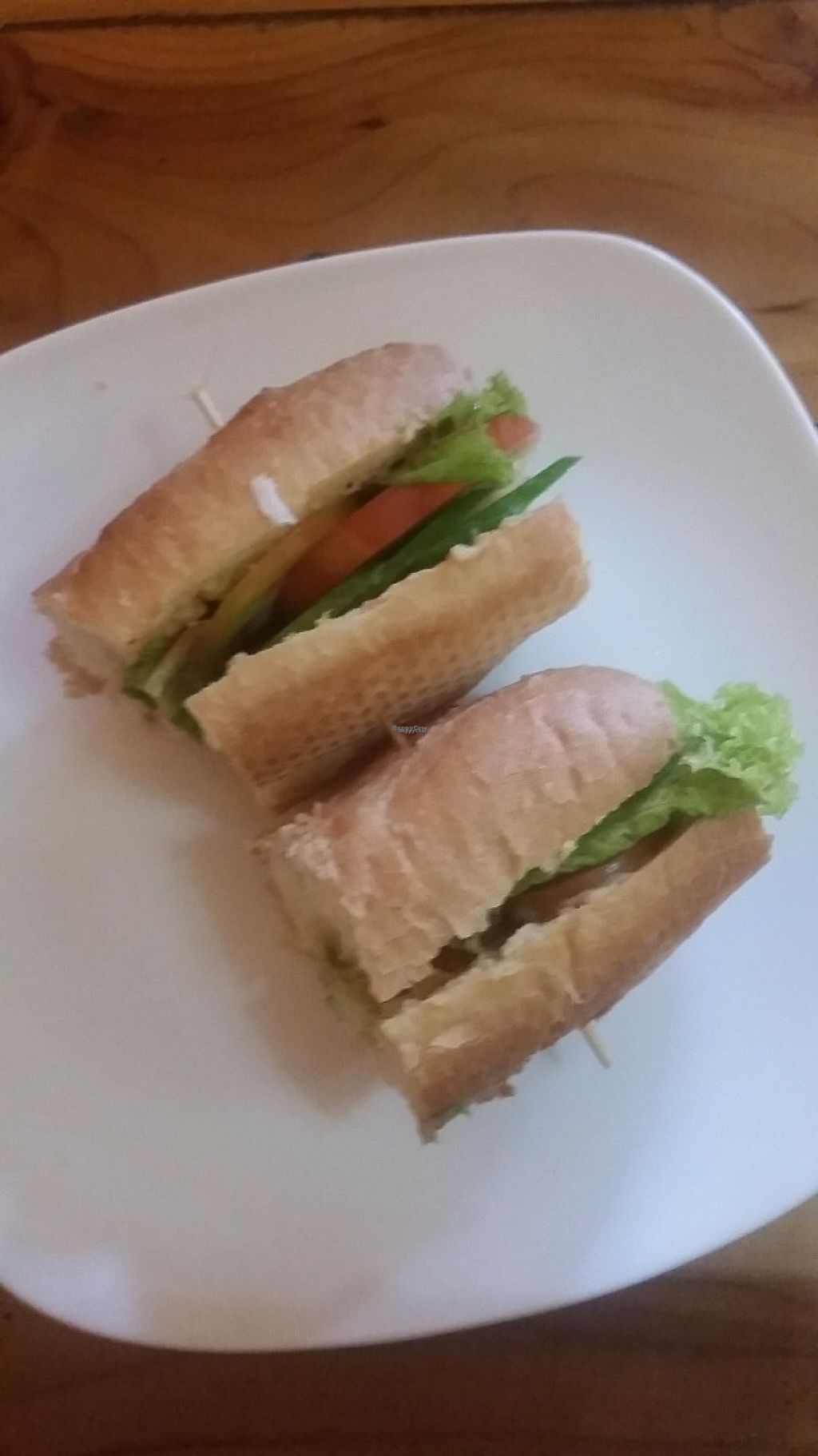"""Photo of Cafe Soleil  by <a href=""""/members/profile/Without_Cruelty_Blog"""">Without_Cruelty_Blog</a> <br/>Hummus and salad bagette <br/> November 7, 2016  - <a href='/contact/abuse/image/33811/187137'>Report</a>"""