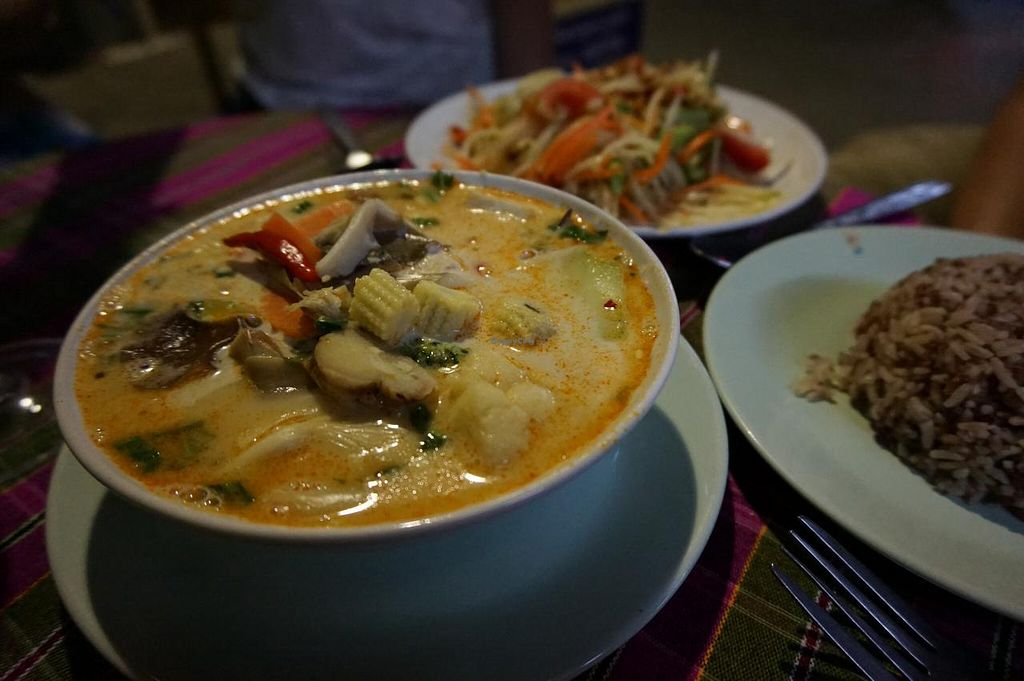"""Photo of On's Thai Isaan  by <a href=""""/members/profile/MMaree"""">MMaree</a> <br/>Amazing Tom Kha with papaya salad (all vegan) <br/> April 4, 2015  - <a href='/contact/abuse/image/33830/97845'>Report</a>"""
