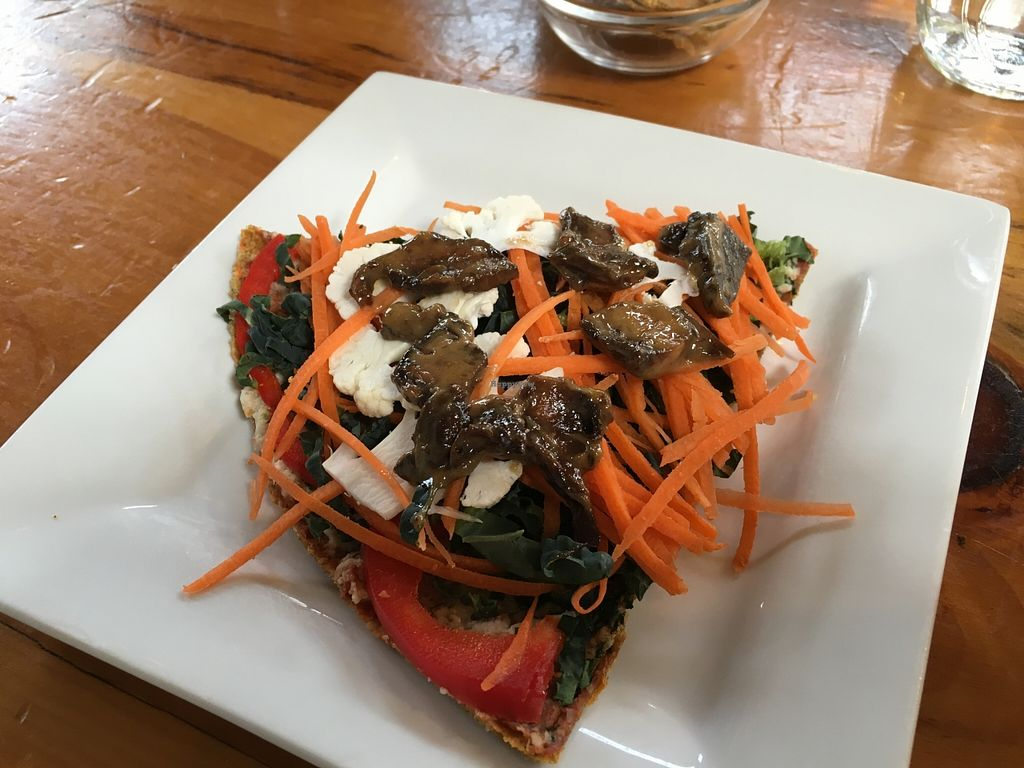 """Photo of Cafe by Tao  by <a href=""""/members/profile/vegan%20frog"""">vegan frog</a> <br/>Raw pizza <br/> April 16, 2016  - <a href='/contact/abuse/image/33858/144917'>Report</a>"""