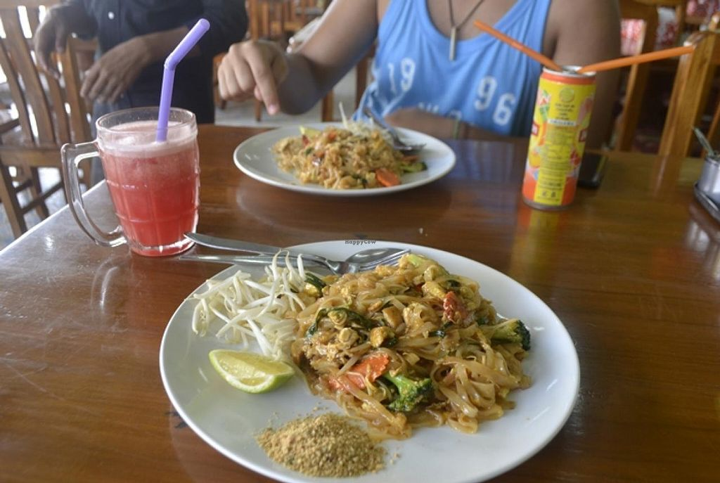 """Photo of You and Me  by <a href=""""/members/profile/apartment2504"""">apartment2504</a> <br/>vegan pad thai and water melon juice (too watery) <br/> October 2, 2014  - <a href='/contact/abuse/image/33927/81985'>Report</a>"""