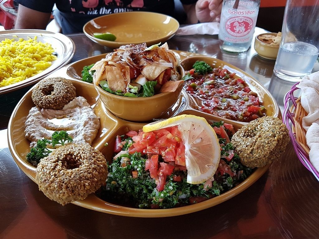 """Photo of Lebanese Restaurant  by <a href=""""/members/profile/Rosa%20veg"""">Rosa veg</a> <br/>Veg plate <br/> May 2, 2017  - <a href='/contact/abuse/image/33929/254915'>Report</a>"""