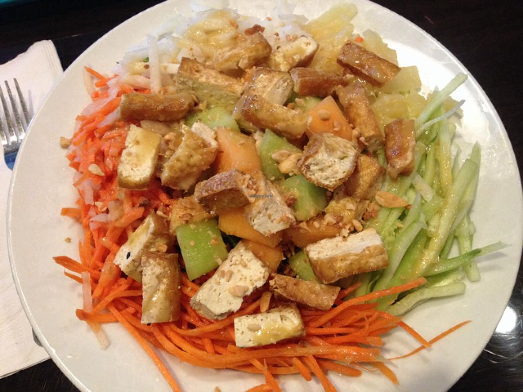 """Photo of Bamboozle Cafe  by <a href=""""/members/profile/martagreen"""">martagreen</a> <br/>Daily special salad with lettuce, melon, carrot, pineapple, jicama & tofu. Citrus vinaigrette dressing <br/> March 10, 2015  - <a href='/contact/abuse/image/33972/95385'>Report</a>"""