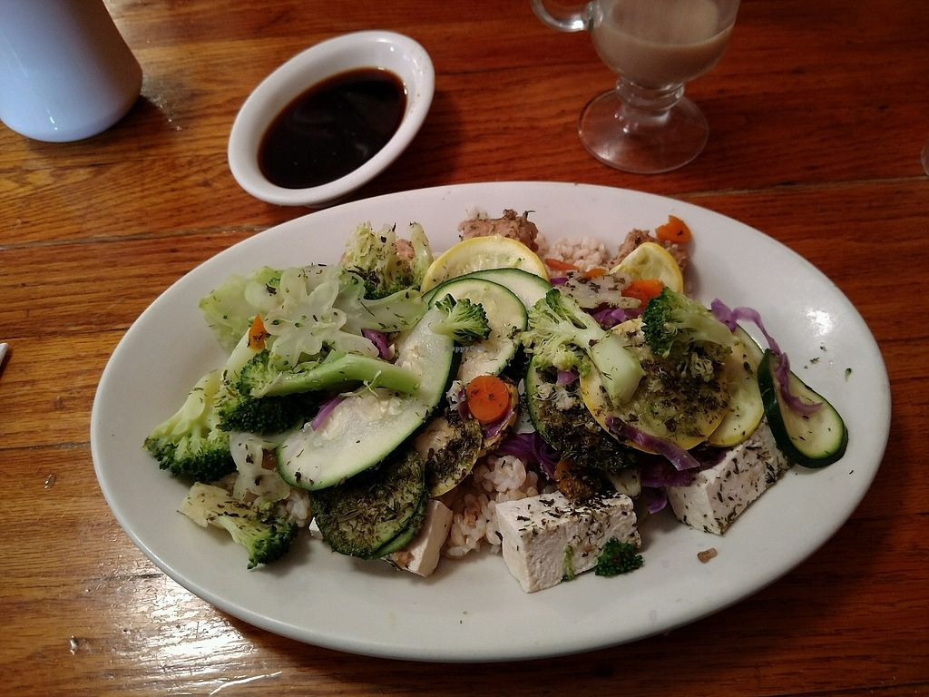"""Photo of Whole in the Wall  by <a href=""""/members/profile/elizsearle"""">elizsearle</a> <br/>Steamed Vegetables in Tamari Ginger sauce, with Tofu and Tempeh <br/> August 31, 2017  - <a href='/contact/abuse/image/3400/299503'>Report</a>"""
